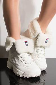 Boot Size Chart Fila Womens Disruptor Shearling Boot In White