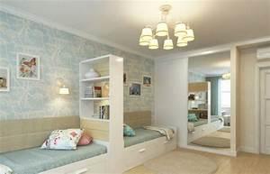 Kinderzimmer Ideen Für Kleine Zimmer : kinderzimmer fuer zwei raumteiler regal zwillinge farben tapetten pastellfarben blau spiegel ~ Indierocktalk.com Haus und Dekorationen