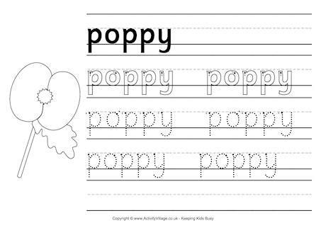 poppy handwriting worksheet