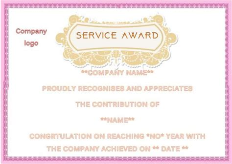 Service Anniversary Certificate Templates by 10 Years Service Award Template Years Of Service