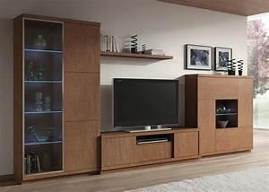 Meuble Tele Avec Rangement : ensemble tv moderne couleur ch ne marron avec clairage led ~ Teatrodelosmanantiales.com Idées de Décoration