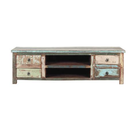 meuble tv 140 cm meuble tv en bois recycl 233 effet vieilli l 140 cm calanque maisons du monde