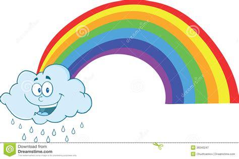 Happy Cloud Raining With Rainbow Stock Illustration