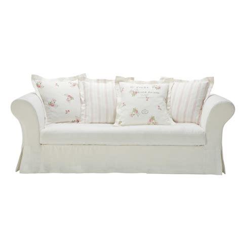 canapé shabby chic white linen sofa seats 3 4 shabby
