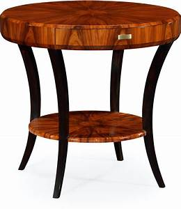 Jonathan, Charles, Living, Room, Art, Deco, Round, Side, Table, With, Drawer, And, Brass, Handle, High, Lustre