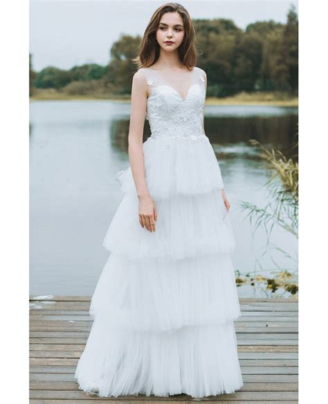 Unique Tiered Tulle Low Back Boho Wedding Dress Beach