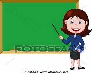 Clipart caricatura, maestra, posición, nex k19296634 Buscar Clip Art, Ilustraciones de