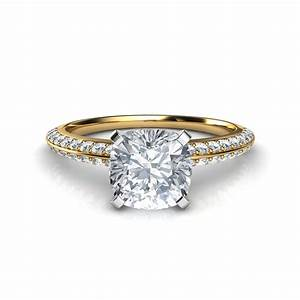 knife edge pave cushion cut engagement ring With wedding rings cushion cut