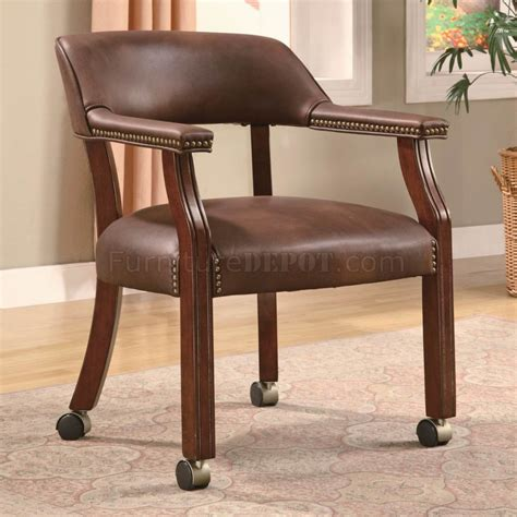 brown vinyl traditional office chair w casters nailhead trim