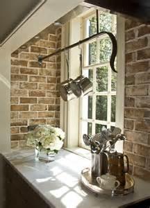 kitchen island hanging pot racks exposed brick kitchen design decor photos pictures