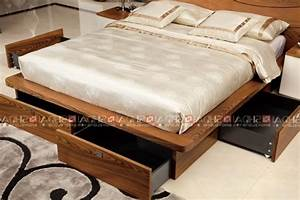 Modern Wood Double Bed Designs With Box / Latest Wooden ...