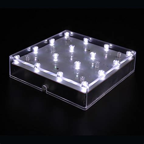 Acmee 5 inch Acrylic Square LED Vase Base Ligtht,Plate
