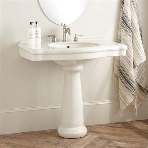 bathroom kohler memoirs pedestal sink  small space