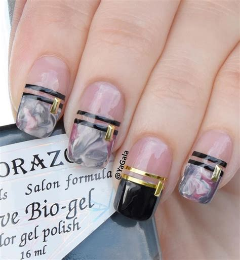 marble inspired gray  pink nails pictures
