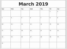 March 2019 Calendar Canada printable yearly calendar