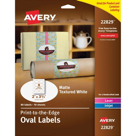 avery oval matte white labels    textured