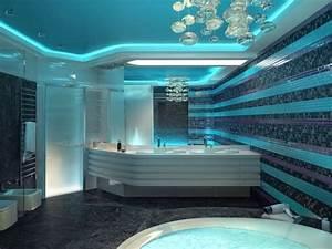 Decoration Led Interieur : salle de bain mosaique bleu ciel bleu marine mauve suspension design et faux plafond avec ~ Nature-et-papiers.com Idées de Décoration