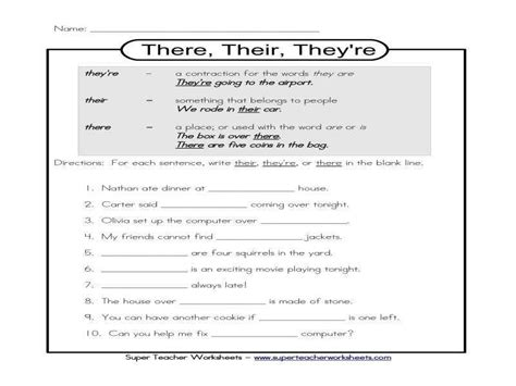 Their There They Re Worksheet Homeschooldressagecom