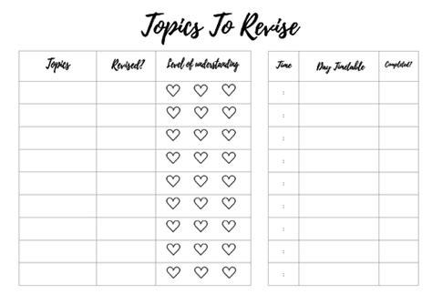 topics  revise exam day planner  jolsycom teaching