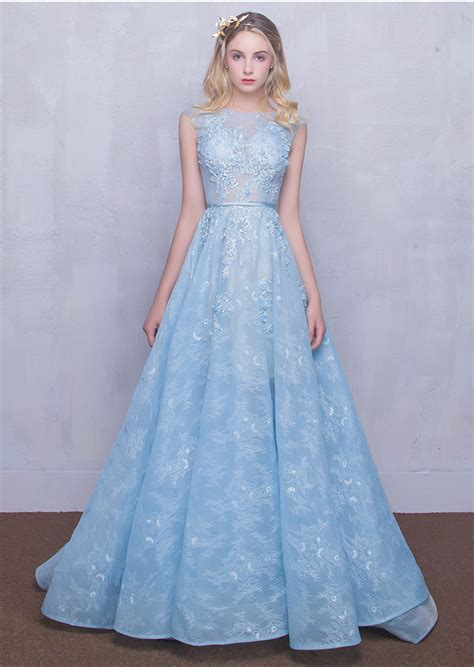 light blue evening gown real light blue lace beaded flowers prom dress for