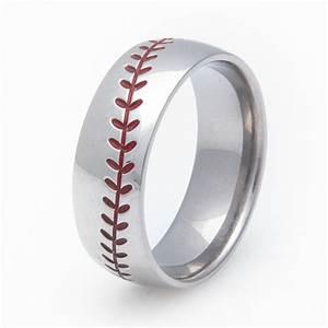 Men39s titanium baseball wedding ring titanium buzz for Mens baseball wedding ring