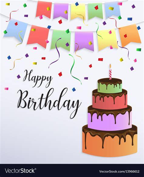 happy birthday card design  colorful big cake vector image