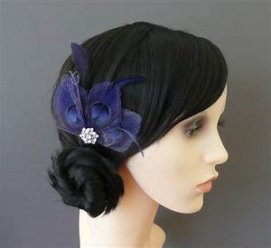 Navy Blue Peacock Feather Hair Clip Crystal Fascinator