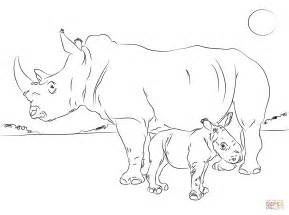 Baby Rhino Coloring Pages