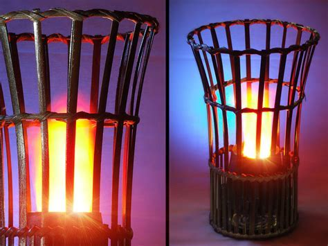 Bamboo Vase Silk Flame Simulated Fire Effect Flaming Torch