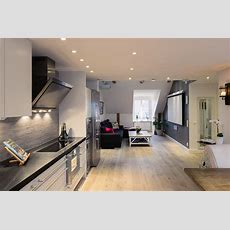 Elegant Small One Bedroom Modern Attic Apartment With