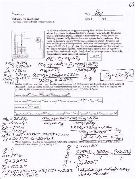 calorimetry worksheet mr brueckner s chemistry class 2012 2013 images frompo