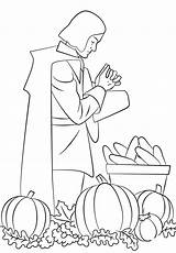 Coloring Pages Pilgrim Praying Thanksgiving Printable Pilgrims Print Harvest Rich Thanks Raskrasil Paper Categories sketch template