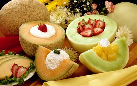 delicious cuisine various fruits in exquisite design creams included both