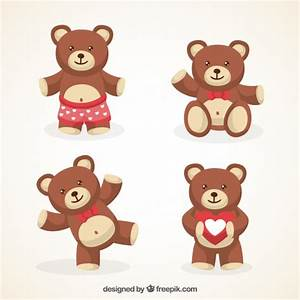 Variety of cute teddy bears Vector | Free Download