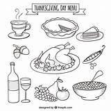 Thanksgiving Menu Hand Drawn Vector sketch template
