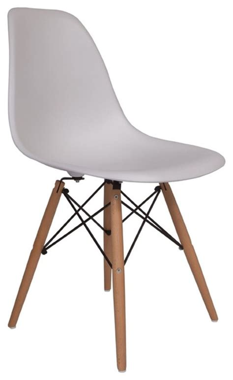 molded plastic side chair wood leg base white shell by