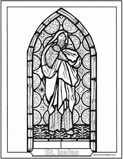 Stained Coloring Glass Pages Isaias Window Church