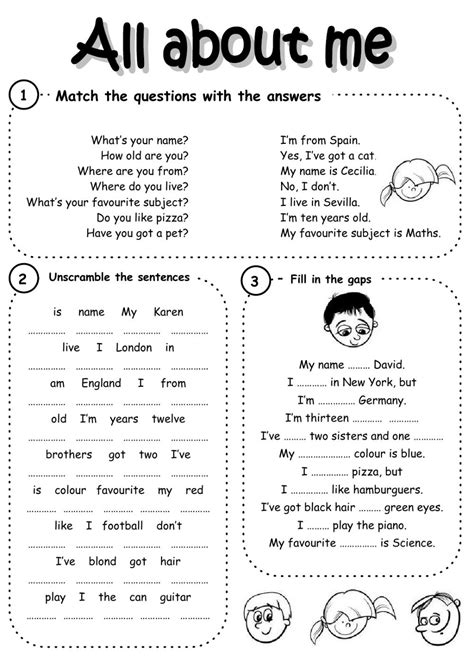all about me interactive worksheet 607 | 703211019084234001