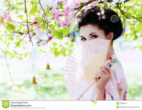 geisha  fan   garden stock photo image