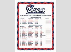 Printable 20182019 New England Patriots Schedule