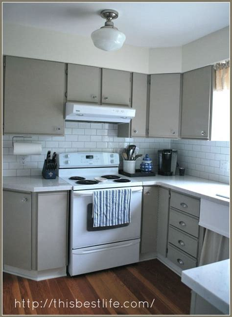 kitchen makeover redo   melamine  oak trim