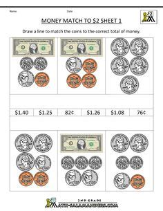 counting coins worksheets  grade  grade money