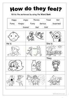 kids pages feelings matching   therapy worksheets