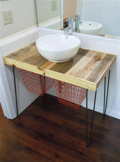 diy pallet wood bathroom vanity  pallets