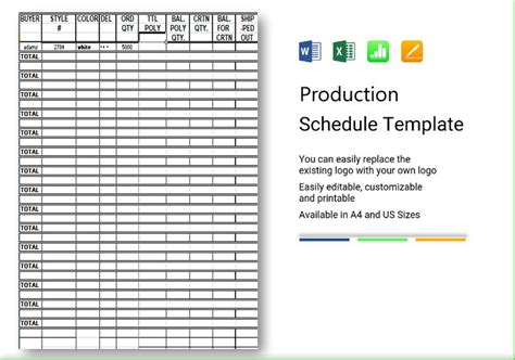 production schedule template excel spreadsheet