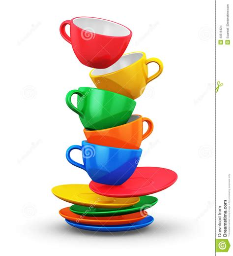 Stack of color coffee cups stock illustration. Image of fresh   40516424