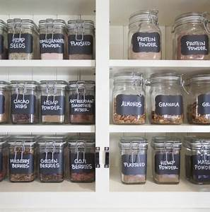 chalkboard labeled jars for the ultimate smoothie station With kitchen cabinets lowes with blackboard stickers for jars