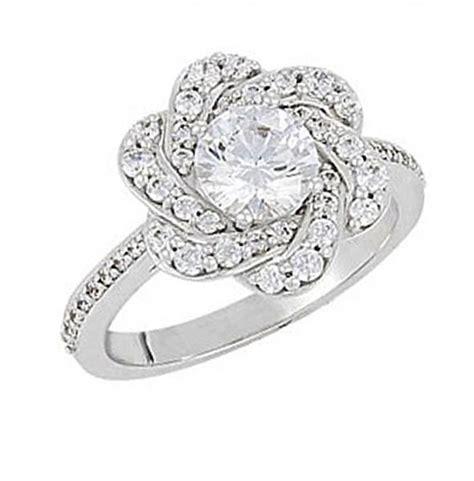 diamond flower shaped engagement ring