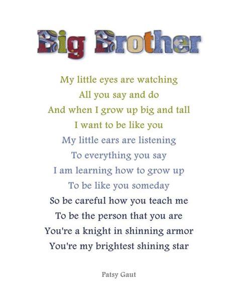 items similar  big brother poem  jpg  etsy