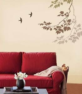 Beautiful wall painting stencils to play up the walls for Living room wall paint stencils